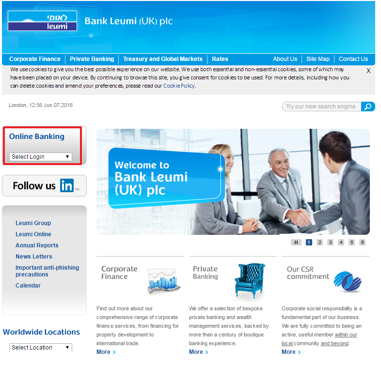Bank Leumi Online Banking Login Step 1