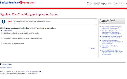 bank of america online mortgage