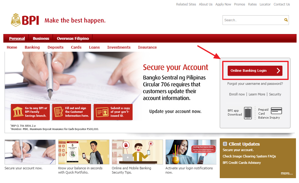 Bank of the Philippine Islands Online Banking Login Step 1