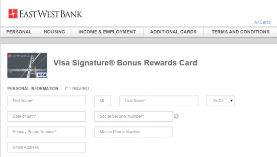East West Bank Credit Card Application - Step 2