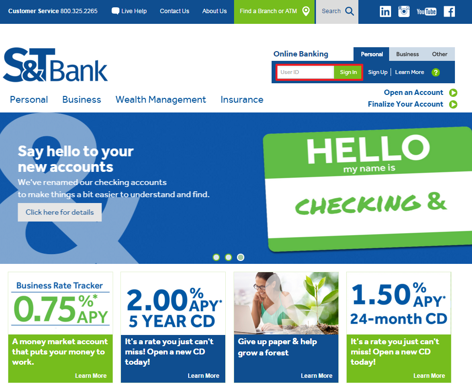 S&T Bank Online Banking Sign-In