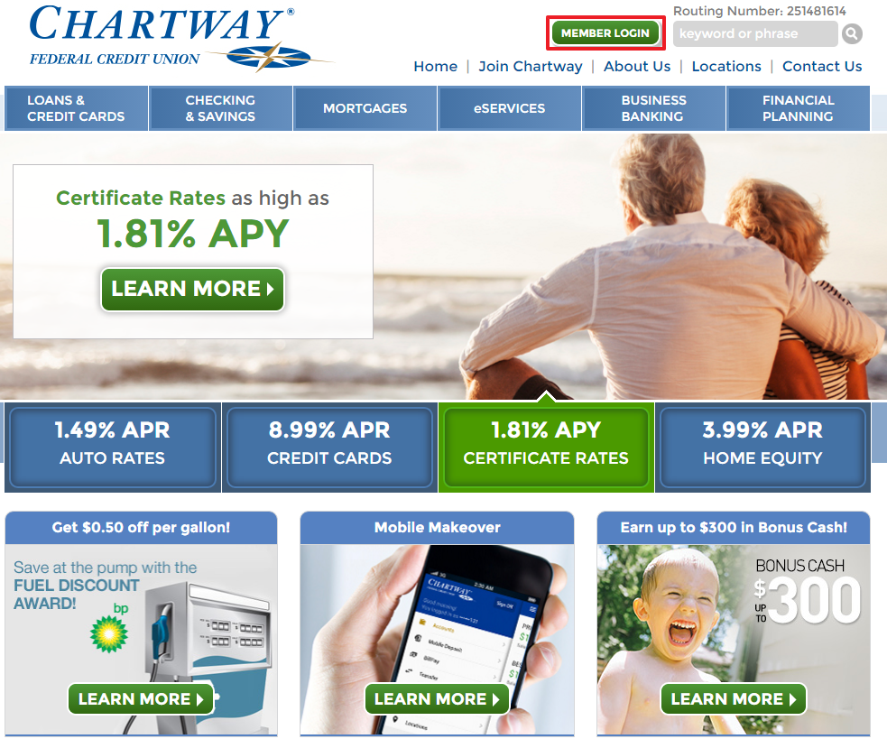 Chartway Federal Credit Union Online Banking Login Step 1