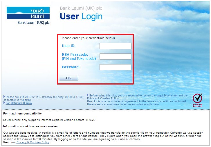 Bank Leumi Online Banking Login Step 2